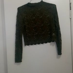 Ambiance olive green lace crop top